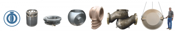Centrifugal and sand castings components for valves including valve housing, gates for butterfly valve, valve body