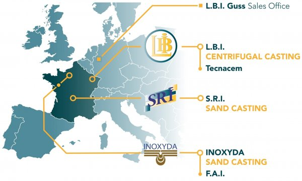 Map with location of LBI centrifugal casting foundry, SRI and Inoxyda sand casting foundry